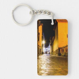 Night empty street keychain