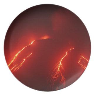 Night erupt volcano Klyuchevskaya Sopka Plate