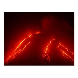 Night erupt volcano Klyuchevskaya Sopka Postcard