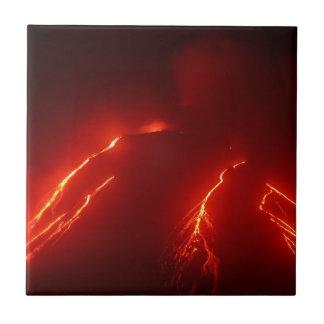 Night erupt volcano Klyuchevskaya Sopka Tile