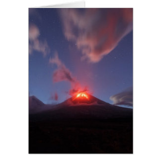 Night eruption Klyuchevskaya Sopka in Kamchatka Card