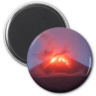 Night eruption Klyuchevskaya Sopka in Kamchatka Magnet