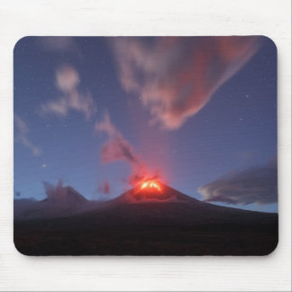 Night eruption Klyuchevskaya Sopka in Kamchatka Mouse Pad