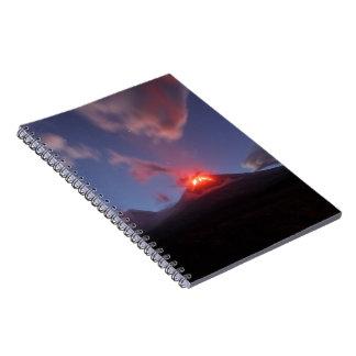 Night eruption Klyuchevskaya Sopka in Kamchatka Notebooks
