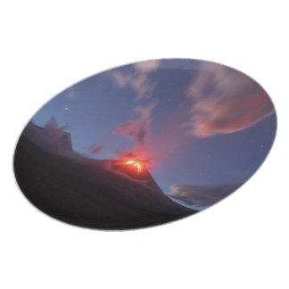 Night eruption Klyuchevskaya Sopka in Kamchatka Plate