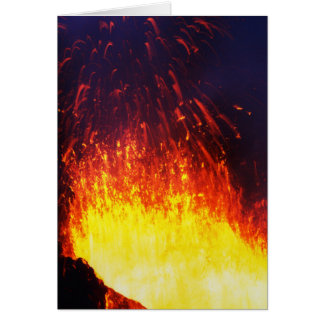 Night eruption volcano: fireworks lava in crater card