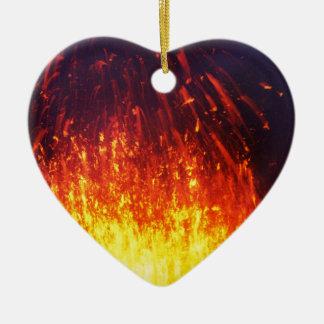 Night eruption volcano: fireworks lava in crater ceramic heart ornament