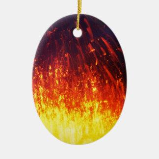 Night eruption volcano: fireworks lava in crater ceramic oval ornament