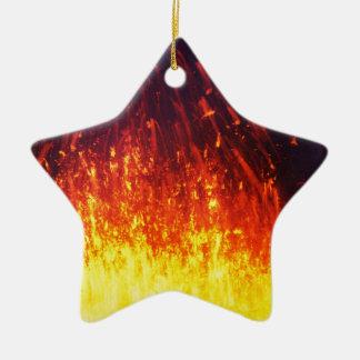 Night eruption volcano: fireworks lava in crater ceramic star ornament