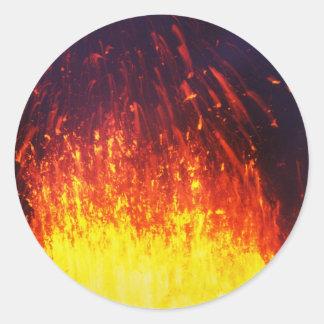 Night eruption volcano: fireworks lava in crater classic round sticker