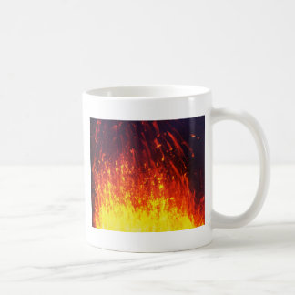 Night eruption volcano: fireworks lava in crater coffee mug