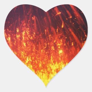 Night eruption volcano: fireworks lava in crater heart sticker