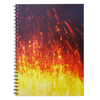 Night eruption volcano: fireworks lava in crater notebook