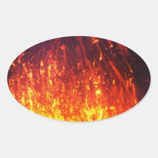 Night eruption volcano: fireworks lava in crater oval sticker