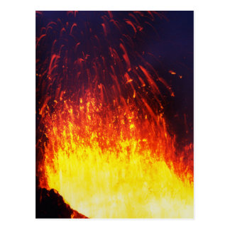 Night eruption volcano: fireworks lava in crater postcard