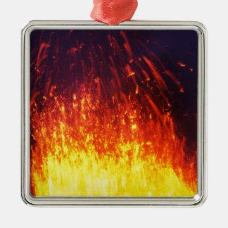 Night eruption volcano: fireworks lava in crater Silver-Colored square ornament