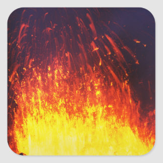 Night eruption volcano: fireworks lava in crater square sticker