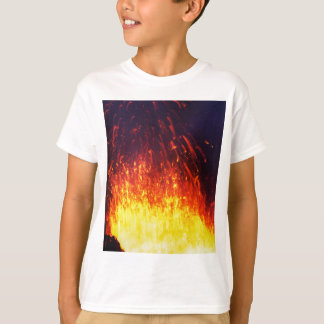 Night eruption volcano: fireworks lava in crater T-Shirt