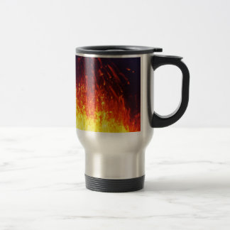 Night eruption volcano: fireworks lava in crater travel mug