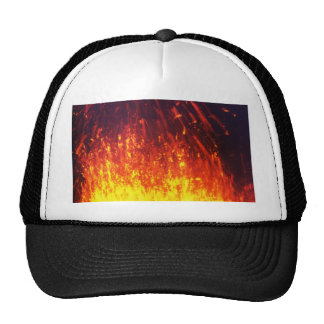 Night eruption volcano: fireworks lava in crater trucker hat