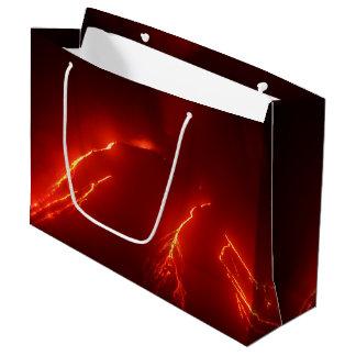 Night eruption volcano: glowing lava flow large gift bag