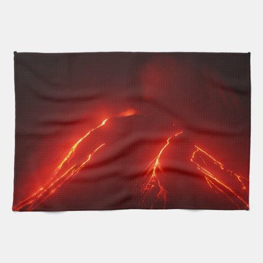 Night eruption volcano kitchen towel