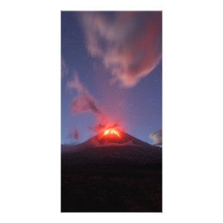 Night eruption volcano Klyuchevskaya Sopka. Russia Card