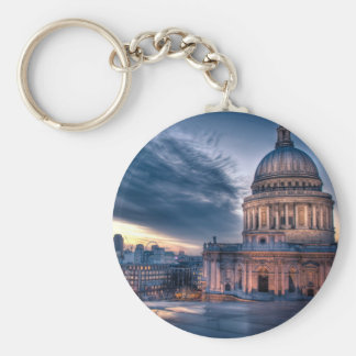 Night falls over St Paul s Cathedral London Keychain