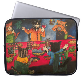 Night Feast Cats Laptop Sleeve