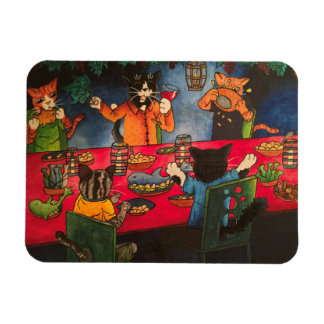 Night Feast Cats Magnet