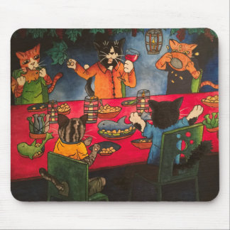 Night Feast Cats Mouse Pad