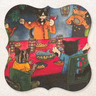 Night Feast Cats Paper Coaster
