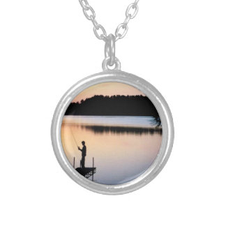 Night fishing silver plated necklace