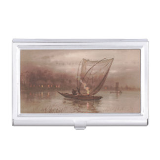 Night Fishing Yokouchi Tasuke japanese waterscape Business Card Holder
