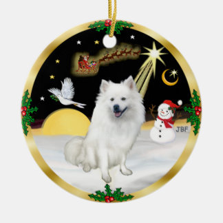 Night Flight -  American Eskimo Dog Ceramic Ornament