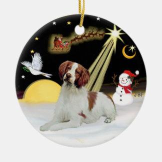 Night Flight-  Brittany Spaniel Ceramic Ornament