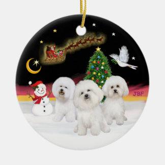 Night Flight - Three Bichon Frise Round Ceramic Ornament