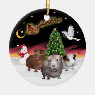Night Flight - Three Guinea Pigs (Cavies) Round Ceramic Ornament