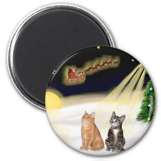 Night Flight - Two Tabby Cats 2 Inch Round Magnet