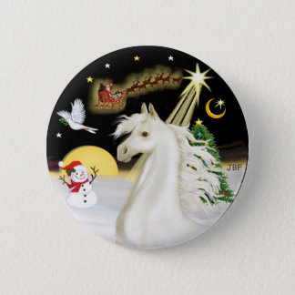 Night Flight - White Arabian Horse 2 Inch Round Button
