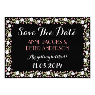 "Night Floral 'Save The Date' Card 5"" X 7"" Invitation Card"