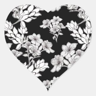 night flowers heart sticker