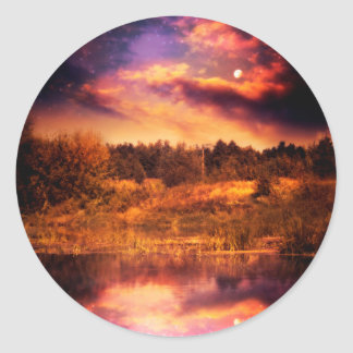 Night Forest and River 3 Classic Round Sticker