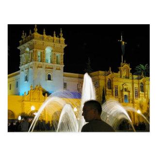 Night Fountains Water Balboa Park Prado Postcard