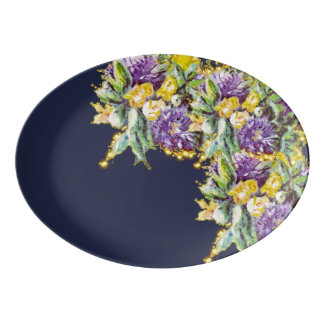 NIGHT GARDEN PORCELAIN SERVING PLATTER