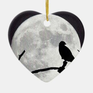 Night Hawk Ceramic Heart Ornament