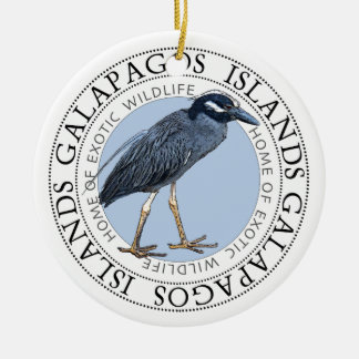 Night Heron Galapagos Islands Round Ceramic Ornament