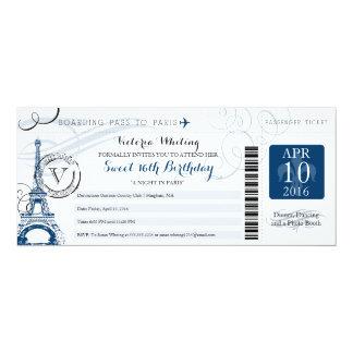 "Night in Paris | Sweet 16 Birthday 4"" X 9.25"" Invitation Card"