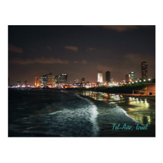 Night in Tel Aviv, Israel Postcard