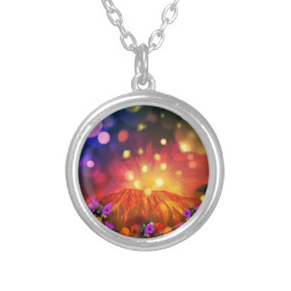Night is full of color enjoying life silver plated necklace